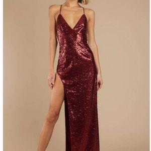 TOBI- Red Sequins High Slit Maxi Dress